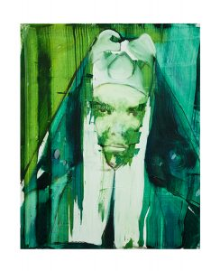 nun, limited print, bartosz beda, prints for sale green, portrait, white, artwork, face of woman