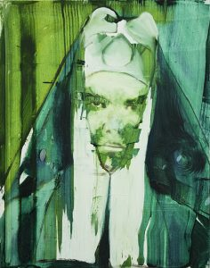 nun, limited print, bartosz beda, prints for sale, green, white, prints edition